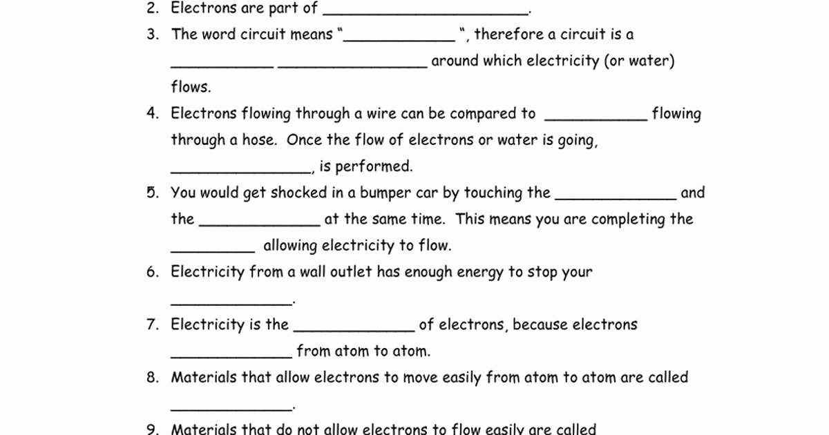 Static Electricity Worksheet Answers Fresh Bill Nye Electricity Worksheet