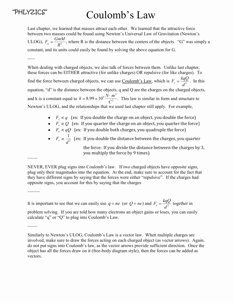 Static Electricity Worksheet Answers Unique Printables Of Coulomb S Law Static Electricity Worksheet