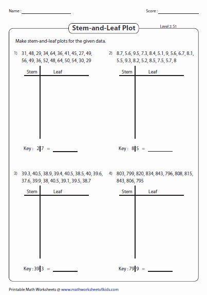 Stem and Leaf Plot Worksheet Beautiful Stem and Leaf Plot Worksheets