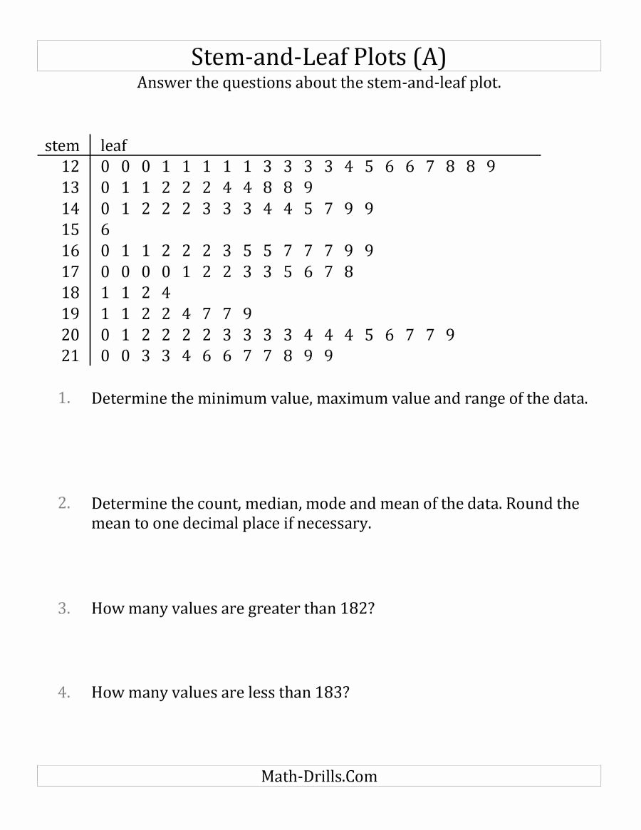 Stem and Leaf Plot Worksheet Lovely Stem and Leaf Plot Questions with Data Counts Of About 100 A