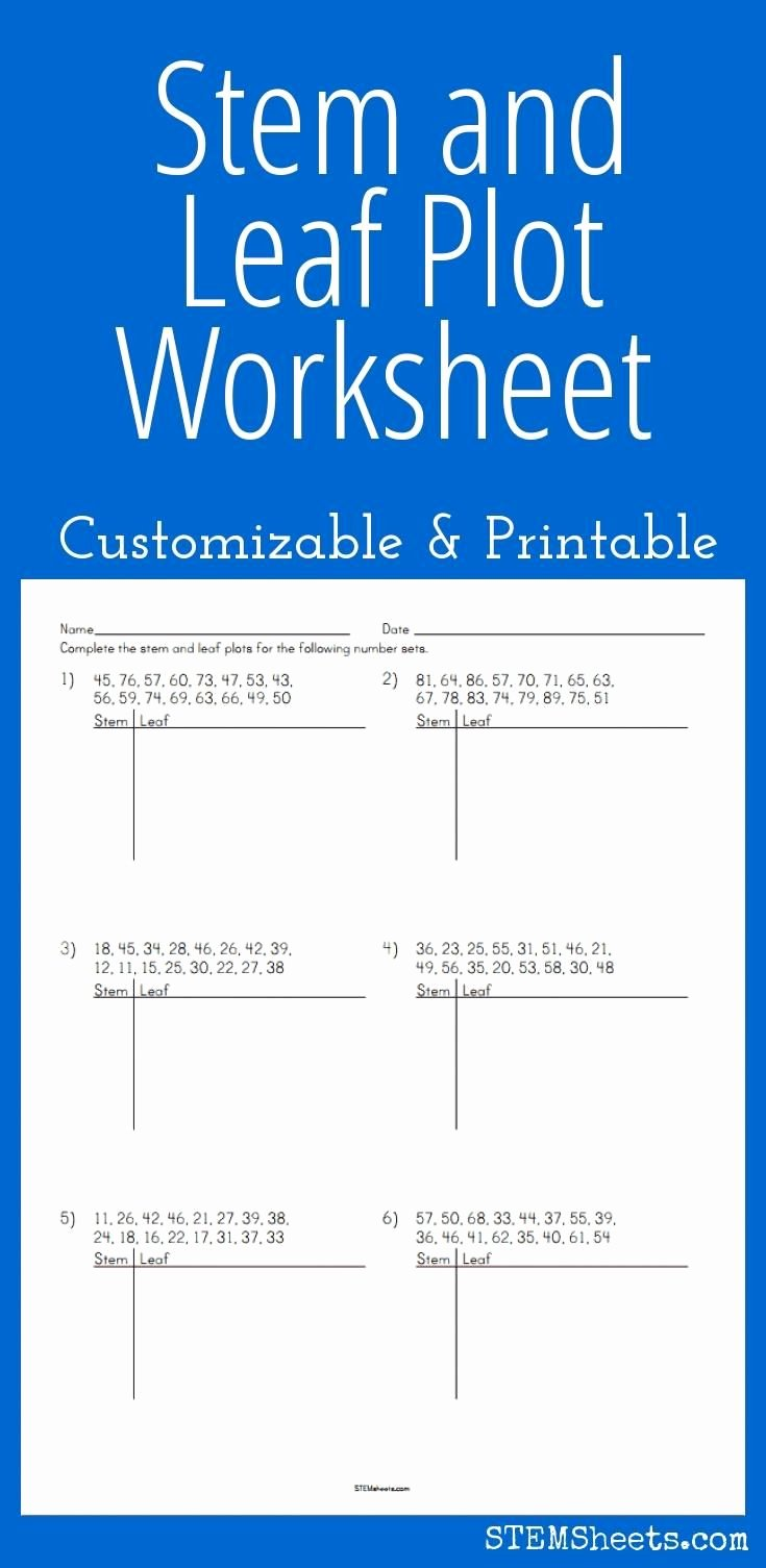 Stem and Leaf Plot Worksheet Luxury Stem and Leaf Plot Worksheet Customizable and Printable