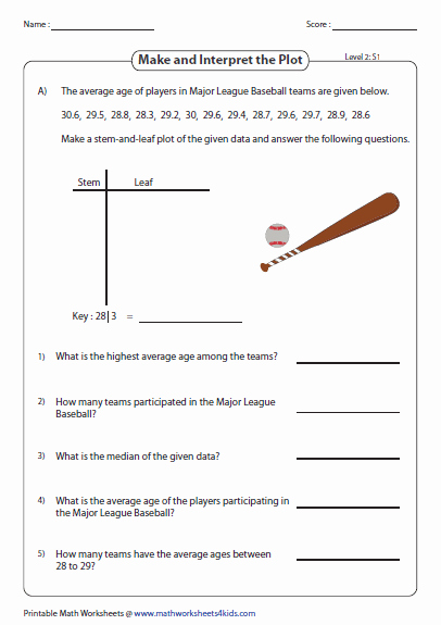 Stem and Leaf Plot Worksheet New Stem and Leaf Plot Worksheets