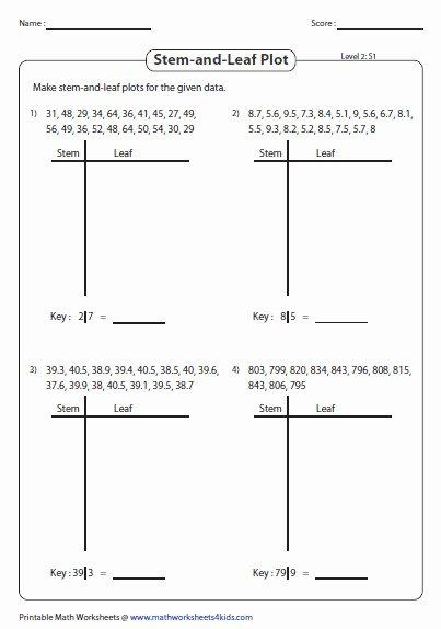 Stem and Leaf Plot Worksheet Unique Box and Whisker Plot Worksheets Mathworksheets4kids