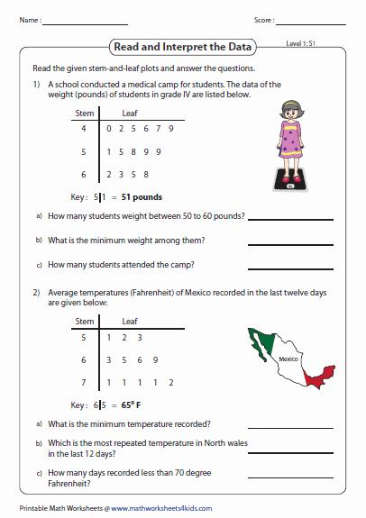 Stem and Leaf Plots Worksheet Elegant Stem and Leaf Plot Worksheets