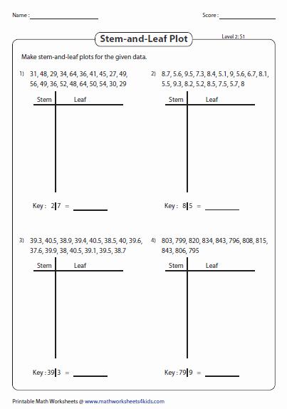 Stem and Leaf Plots Worksheet Luxury Stem and Leaf Plot Worksheets