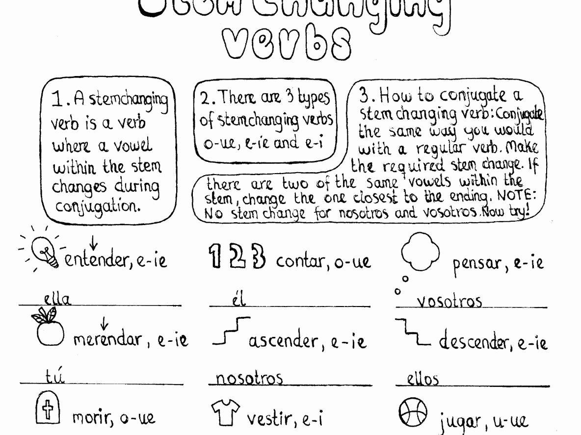 Stem Changing Verbs Worksheet Answers Fresh 3 No Prep Hand Drawn Worksheets On Stem Changing Verbs