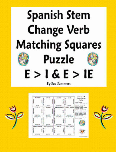 Stem Changing Verbs Worksheet Answers Luxury Spanish Stem Change Verbs Matching Squares Puzzle E I and