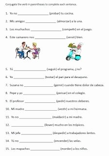 Stem Changing Verbs Worksheet Awesome Free Spanish Verb Conjugation Sentences Worksheets Packet