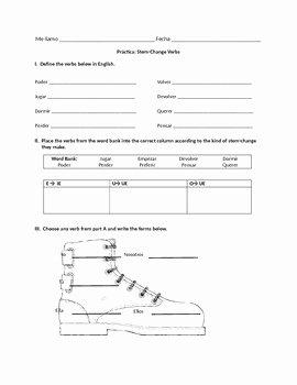 Stem Changing Verbs Worksheet Awesome Spanish Stem Change Verb Worksheet Present Tense by