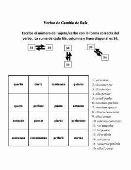 Stem Changing Verbs Worksheet Beautiful Spanish Stem Changing Verb Activities Magic Squares