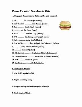 Stem Changing Verbs Worksheet Fresh German Stem Changing Verbs Worksheet Helfen Essen Etc