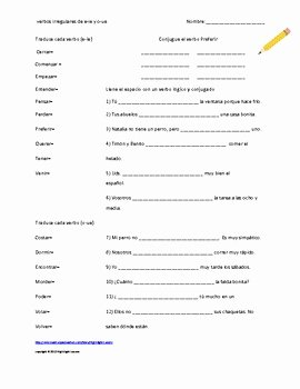 Stem Changing Verbs Worksheet New Spanish E Ie and O Ue Stem Changing Verb Worksheet
