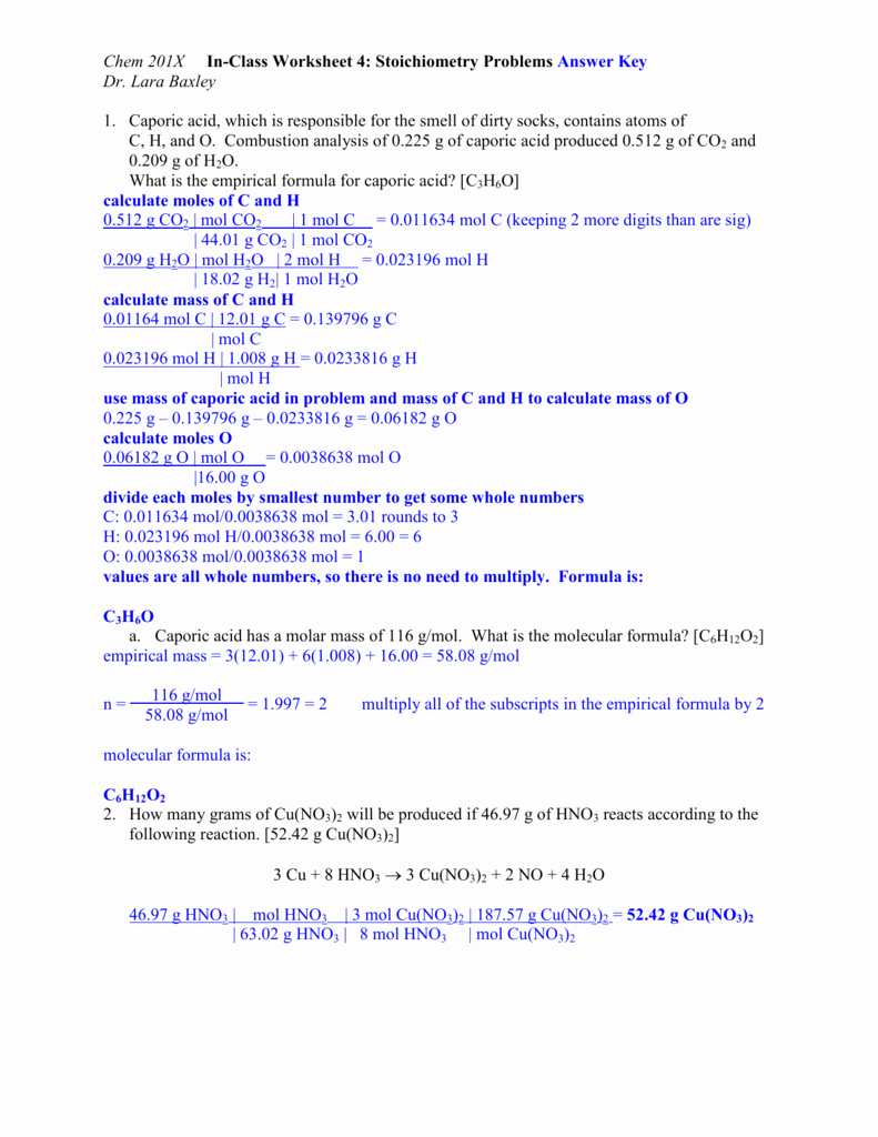 Stoichiometry Problems Worksheet Answers Beautiful Chem 201x In Class Worksheet 4 Stoichiometry Problems Answer