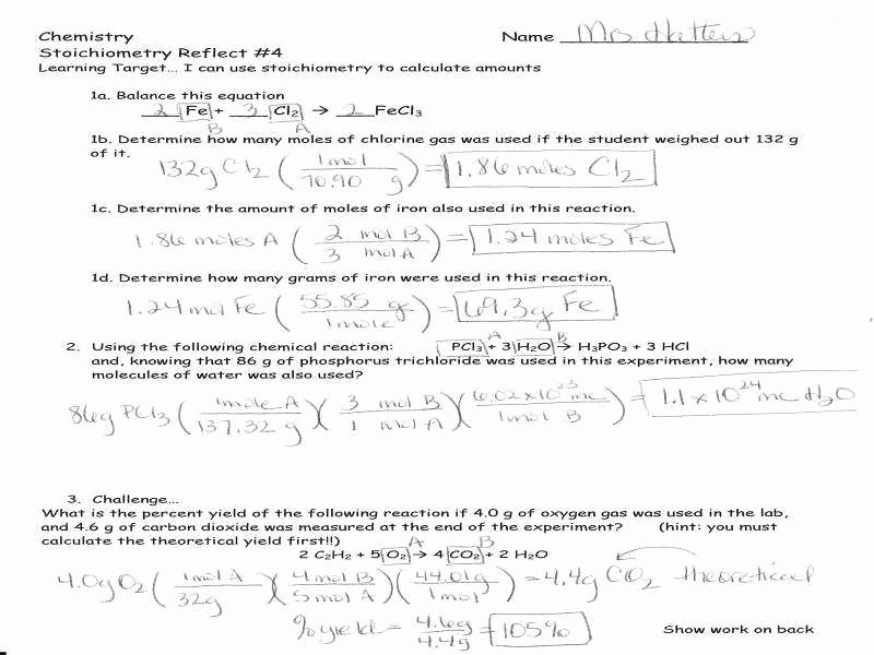 Stoichiometry Problems Worksheet Answers Best Of Stoichiometry Worksheet 1 Answers