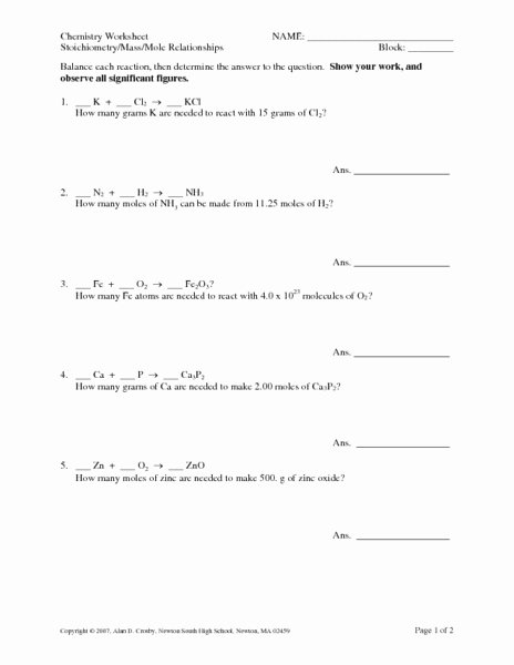 Stoichiometry Problems Worksheet Answers Elegant Stoichiometry Mass Mole Relationships Worksheet for 10th