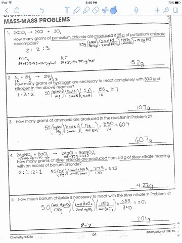 Stoichiometry Problems Worksheet Answers Elegant Stoichiometry Mole Mole Problems