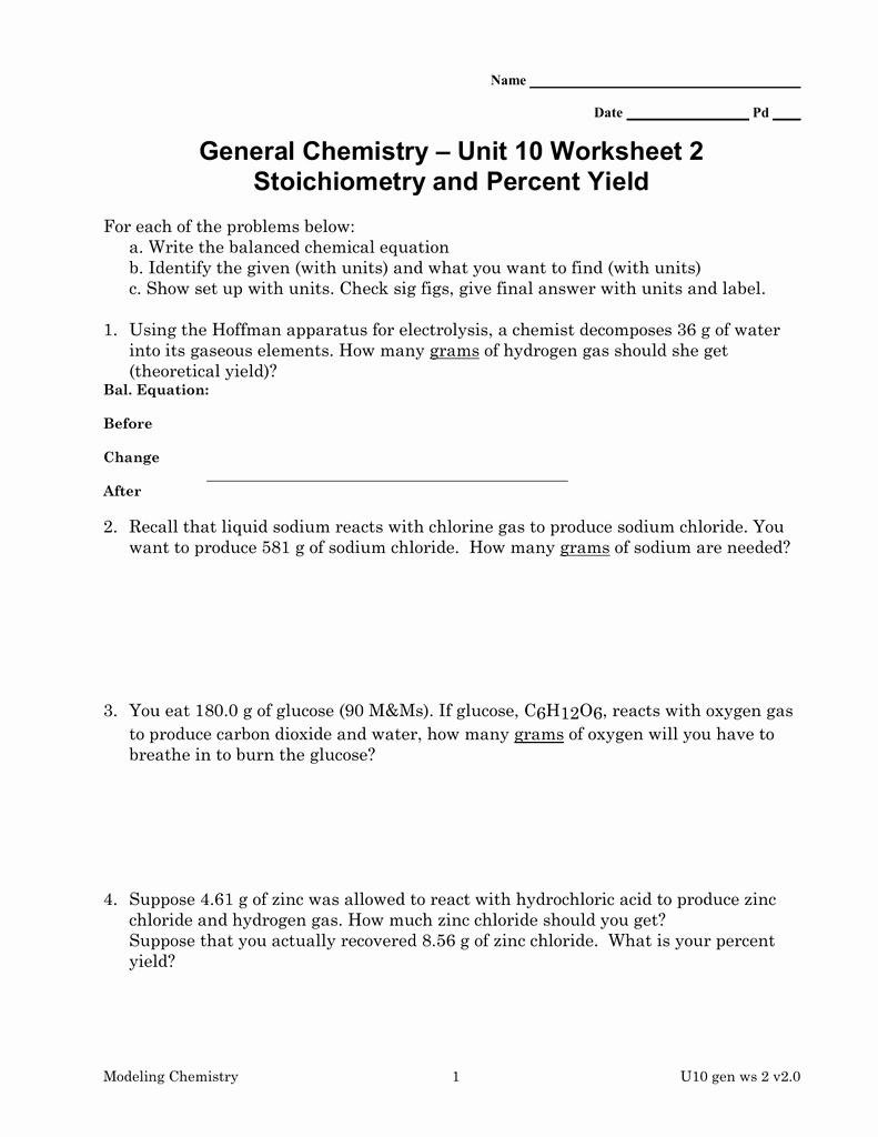Stoichiometry Problems Worksheet Answers Fresh Unit 10 Worksheet 2 General Chemistry Stoichiometry and