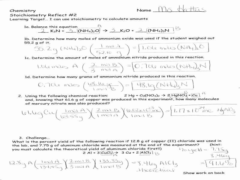 Stoichiometry Problems Worksheet Answers Luxury Stoichiometry Worksheet 2
