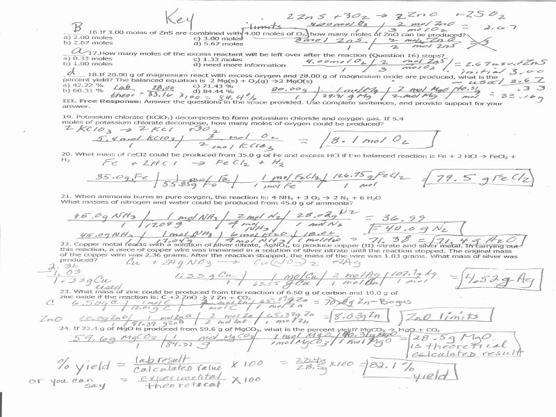 Stoichiometry Worksheet Answer Key Fresh Stoichiometry Practice Worksheet Answer Key Free