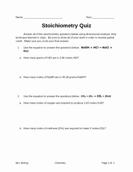 Stoichiometry Worksheet Answer Key Fresh Stoichiometry Quiz by Leah S Chemistry Corner