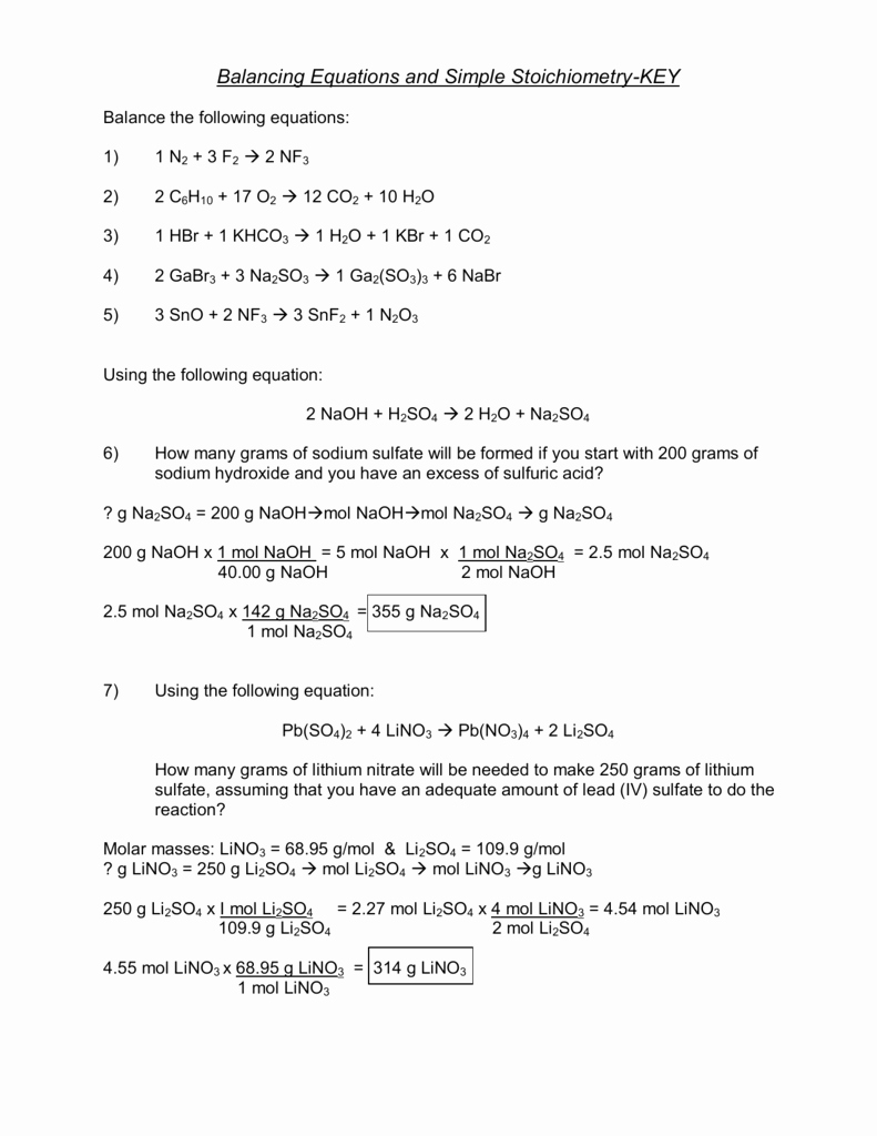 Stoichiometry Worksheet Answer Key Inspirational Key solutions for the Stoichiometry Practice Worksheet