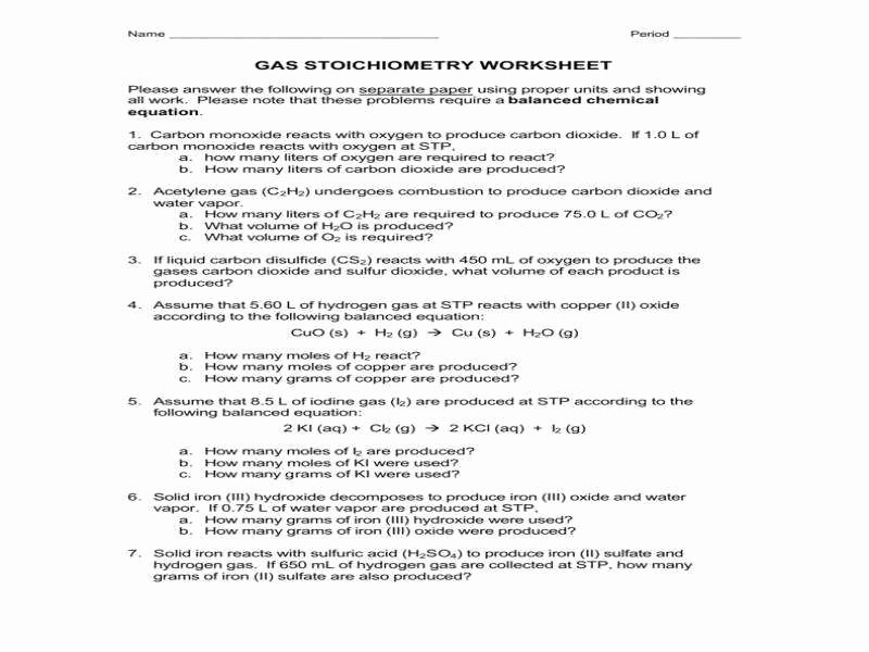 Stoichiometry Worksheet Answer Key Lovely Gas Stoichiometry Worksheet Answers
