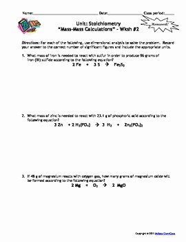 Stoichiometry Worksheet Answer Key Lovely Stoichiometry Homework Worksheets Set Of 7 with Answer