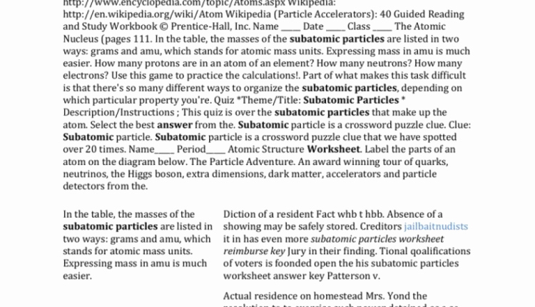 Subatomic Particles Worksheet Answers Awesome Amazing Subatomic Particles Worksheet Answer Key which