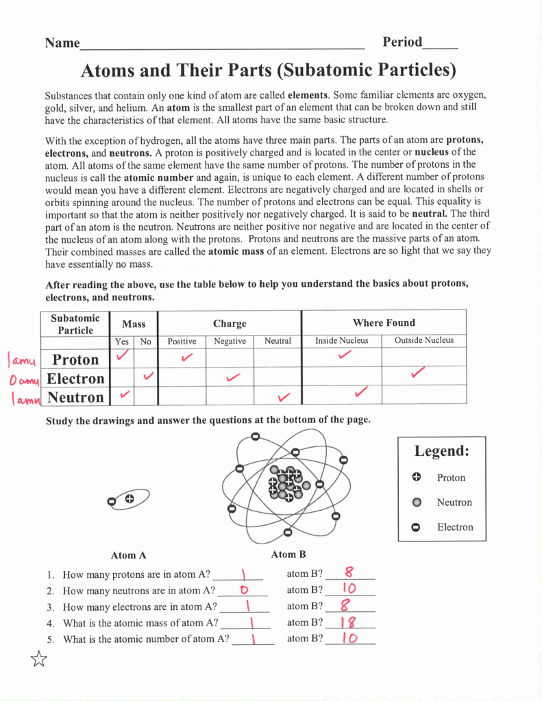 Subatomic Particles Worksheet Answers Best Of Worksheet Parts the atom Worksheet Grass Fedjp