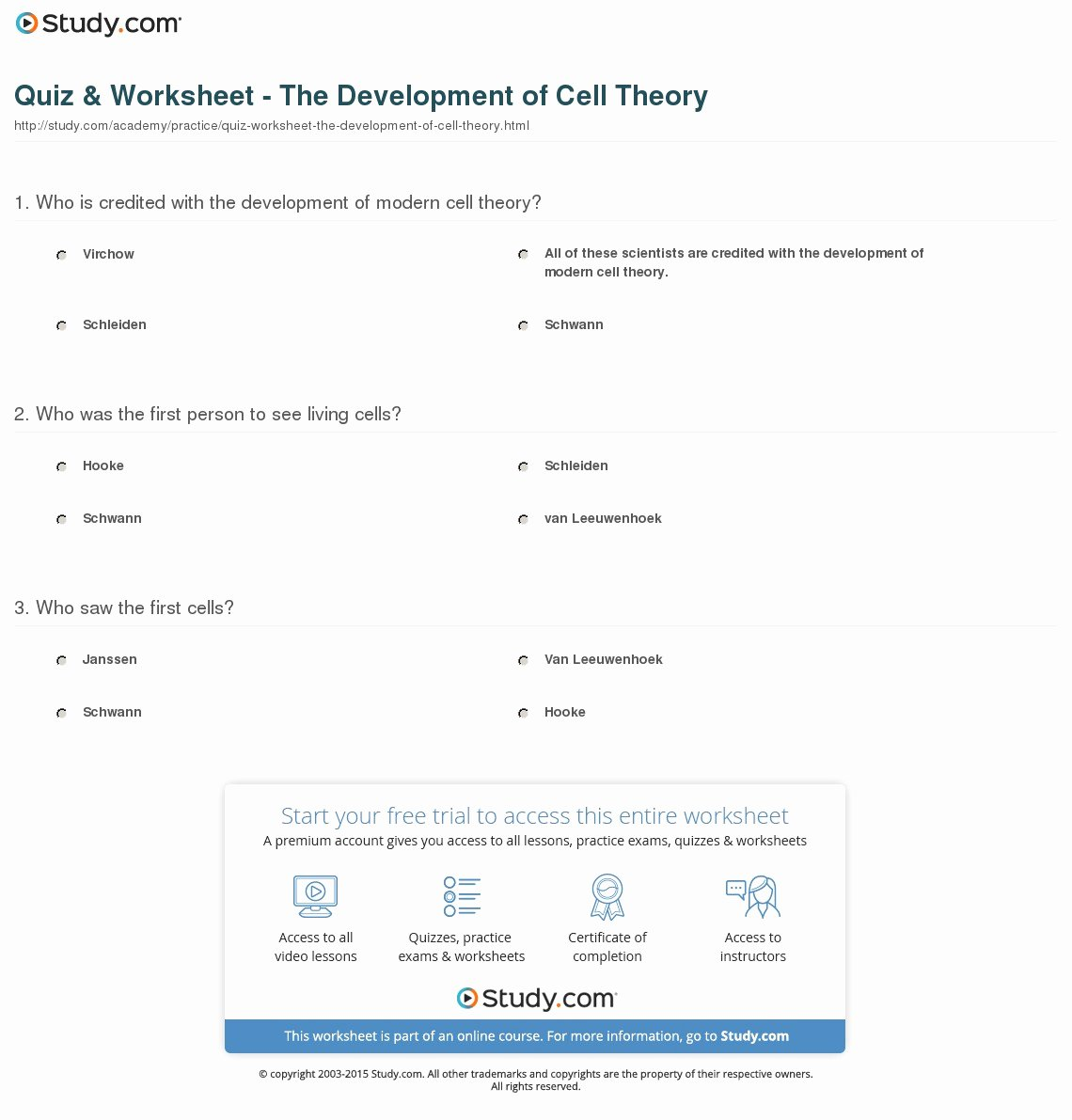 Subatomic Particles Worksheet Answers Inspirational Quiz & Worksheet the Development Of Cell theory