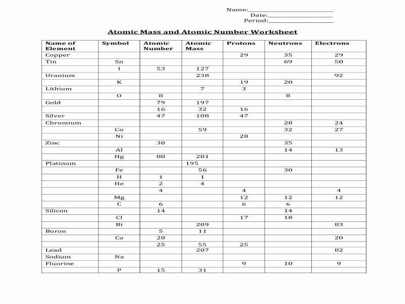 Subatomic Particles Worksheet Answers Unique atomic Mass and atomic Number Worksheet