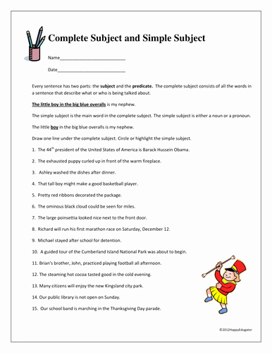 Subject and Predicate Worksheet Beautiful Plete Subject and Simple Subject Worksheet by