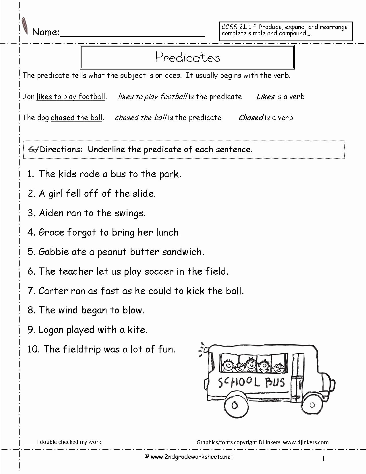 Subject and Predicate Worksheet Best Of Subject and Predicate Sentences Worksheets for 3rd