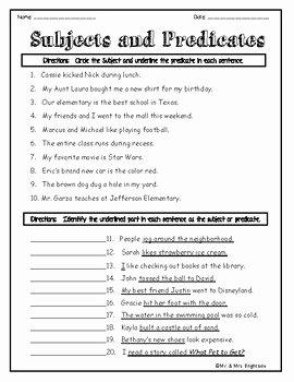 Subject and Predicate Worksheet Elegant Identifying Subjects and Predicates Worksheets by Mr and