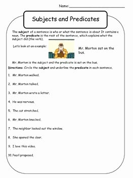 Subject and Predicate Worksheet Fresh Subject and Predicate Worksheet Mr Morton by Kelly