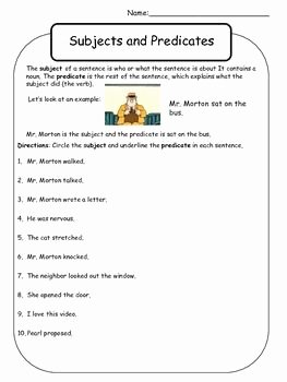 Subject and Predicate Worksheet Inspirational Mr Morton Subject and Predicate Worksheet