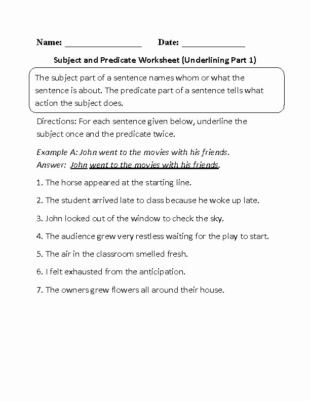 Subject and Predicate Worksheet Lovely Best 25 Subject and Predicate Worksheets Ideas On