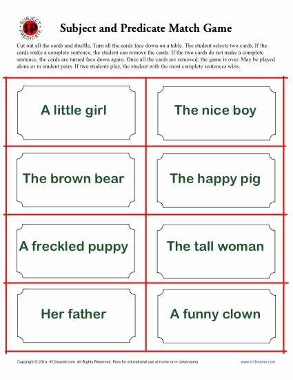 Subject and Predicate Worksheet Luxury Subject and Predicate Match Game