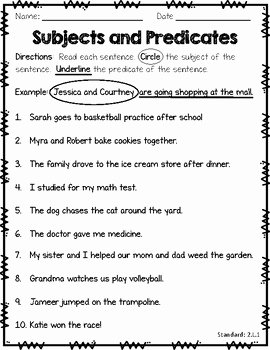 Subject and Predicate Worksheet Luxury Subject Predicate Quiz by Jessica Annand