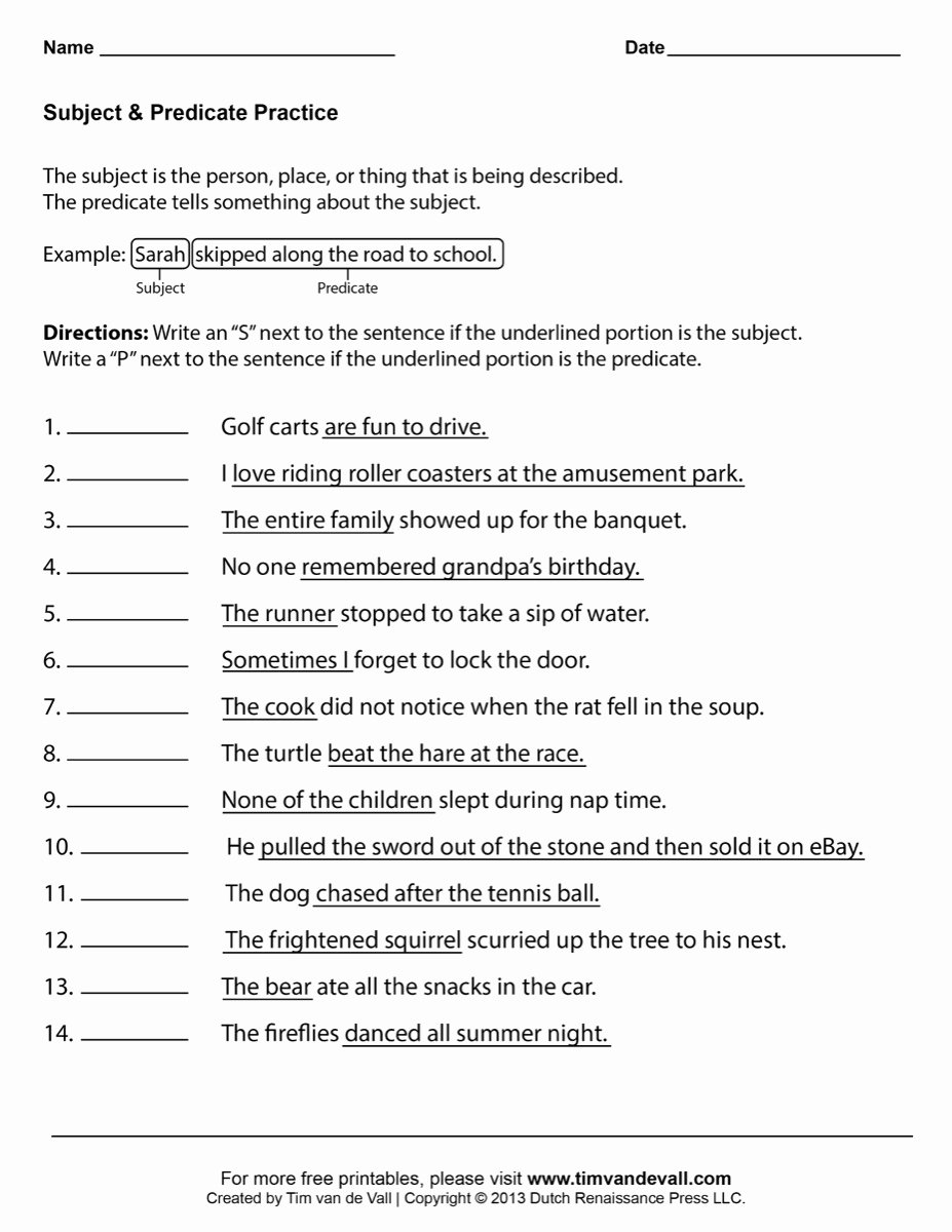 Subject and Predicate Worksheet Unique Subject & Predicate Worksheet 03 Tim S Printables
