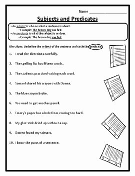 Subject Predicate Worksheet Pdf Beautiful Grammar Subjects and Predicates Worksheets Subject and