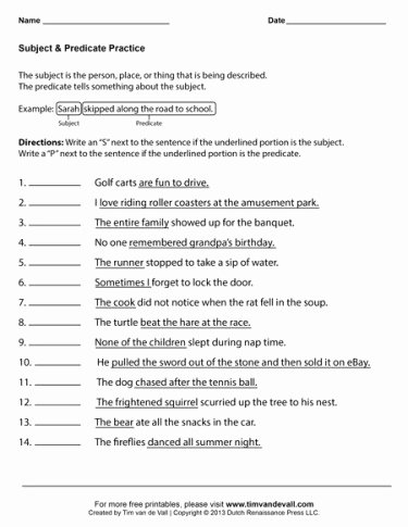 Subject Predicate Worksheet Pdf Beautiful Subject and Predicate Worksheets First Grade Language