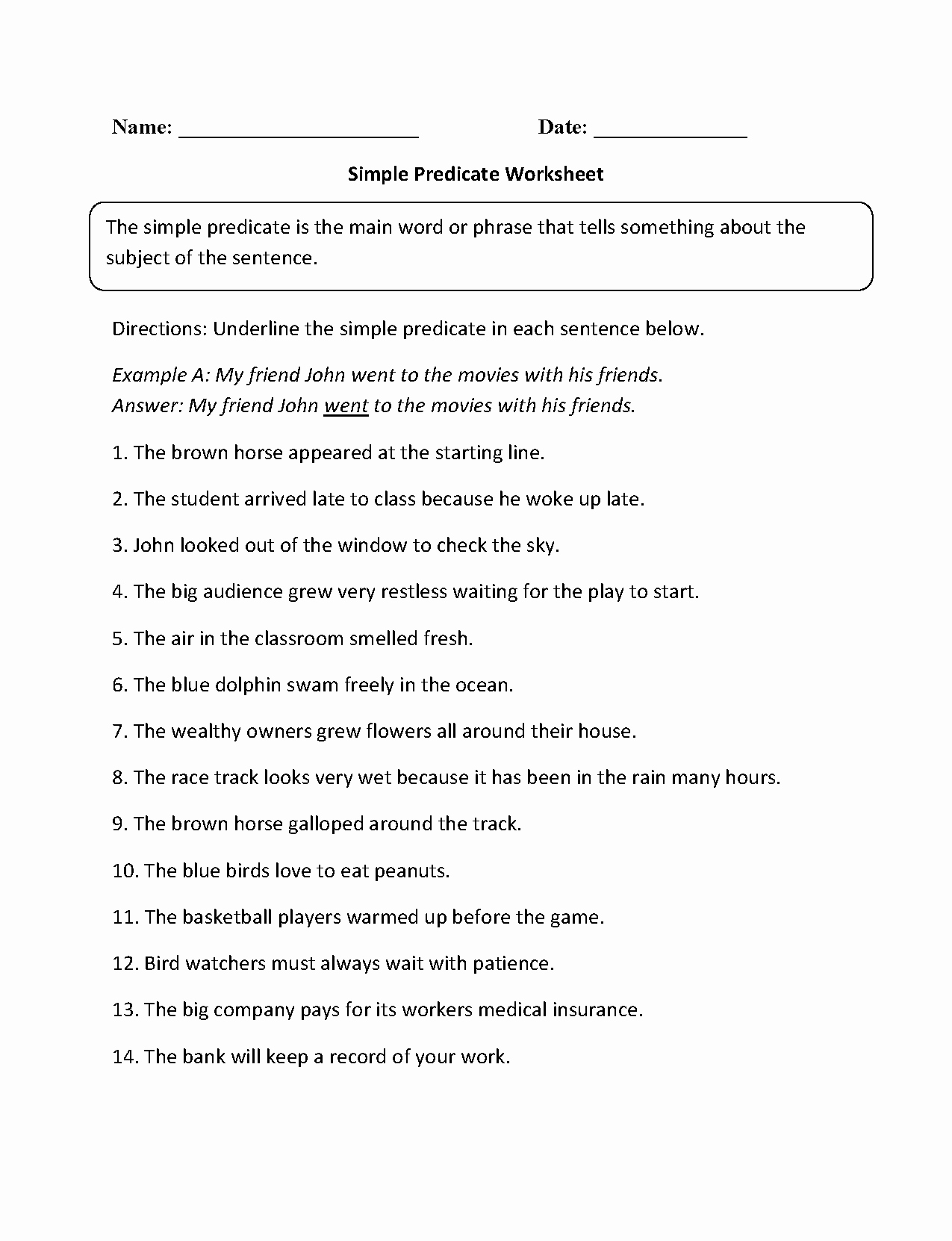 Subject Predicate Worksheet Pdf Inspirational Englishlinx
