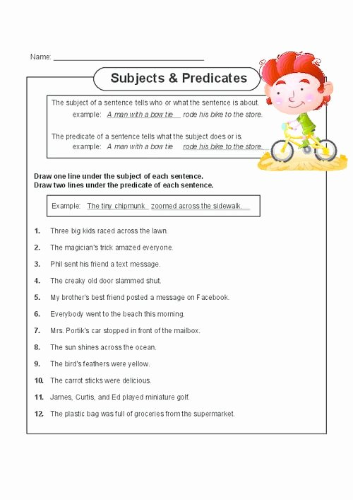 Subject Predicate Worksheet Pdf Lovely Subjects and Predicates