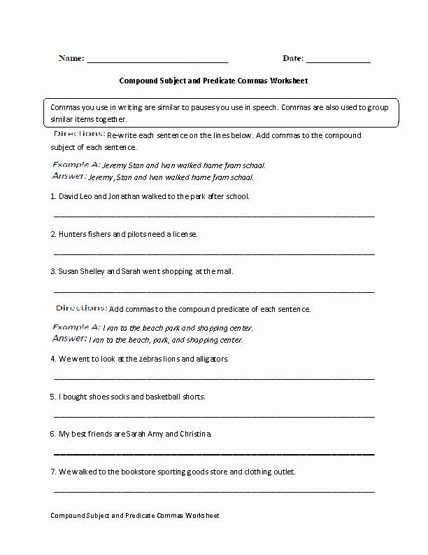 Subject Predicate Worksheet Pdf New Englishlinx