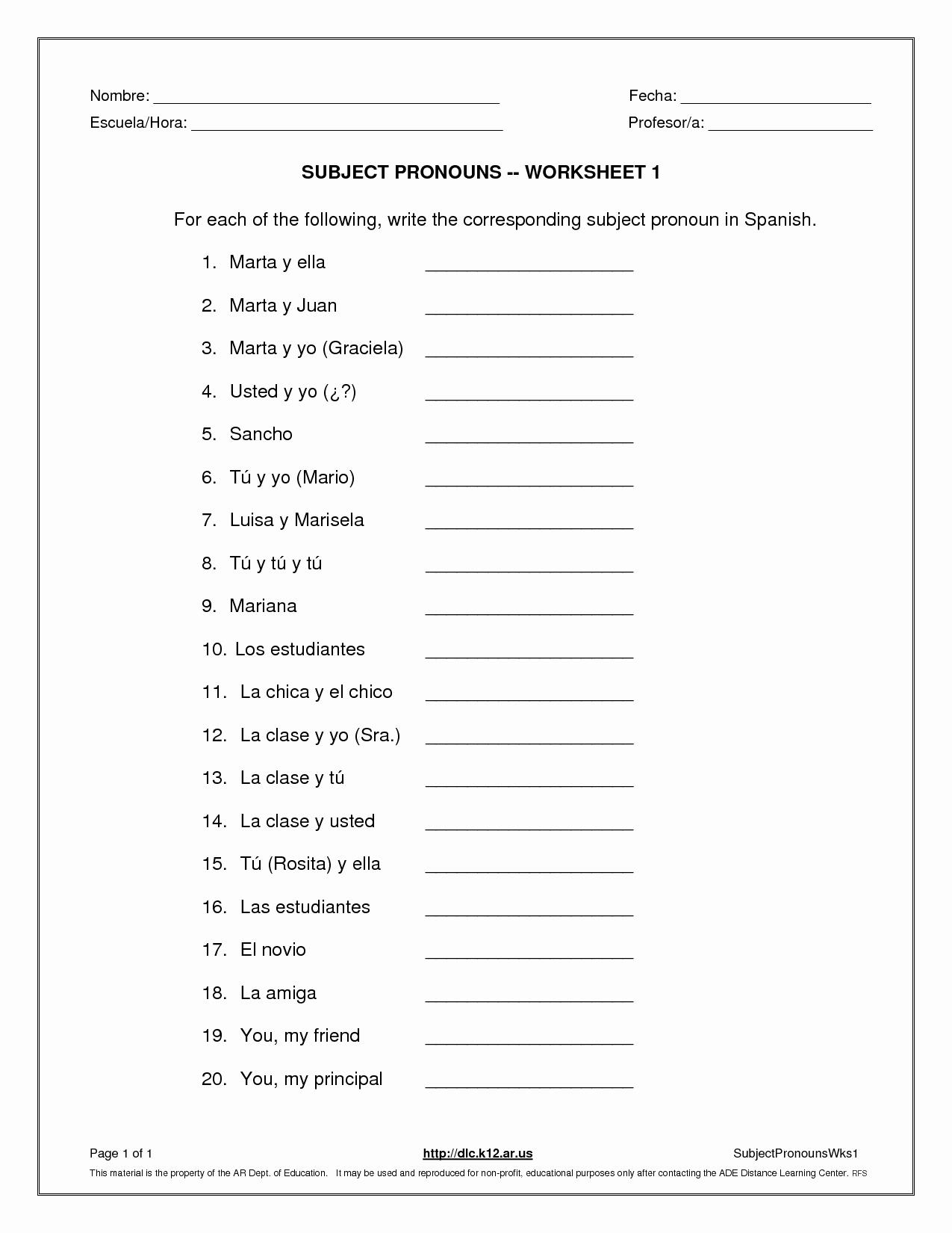 Subject Pronouns In Spanish Worksheet Elegant La Escuela De Ingles De Eva Subject Pronouns Worksheet