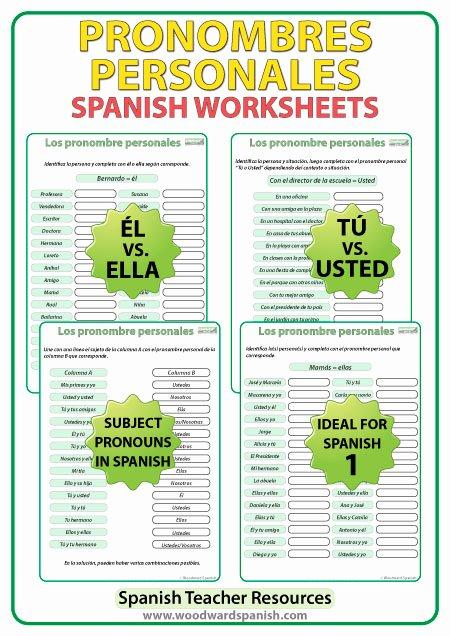 Subject Pronouns In Spanish Worksheet Elegant Spanish Subject Pronouns – Worksheets