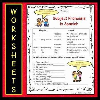 Subject Pronouns In Spanish Worksheet Lovely Spanish Subject Pronouns Worksheets and Posters by Debbie