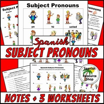 Subject Pronouns In Spanish Worksheet Unique Spanish Resource Shop Teaching Resources