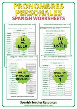 Subject Pronouns Spanish Worksheet Inspirational Pronombres Personales Spanish Worksheets by Woodward